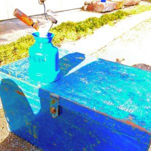 古いガストーチと工具箱