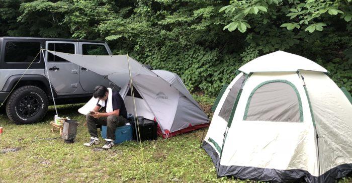 川場谷野営場でテント設営完了