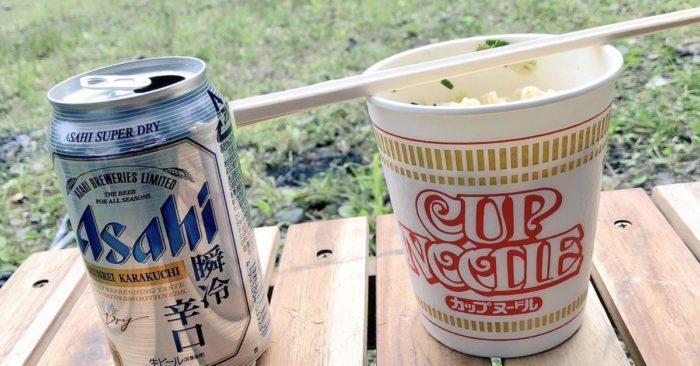 川場谷野営場での昼食