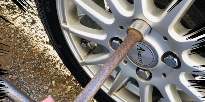 タイヤのボルトを締める