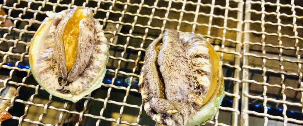 牡蠣ノ星で焼きアワビ
