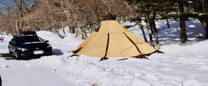 マツダデミオでのキャンプ
